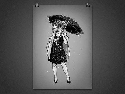 Rainy mood black and white umbrella rain woman gray ink sketch illustration