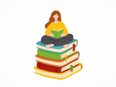 Book lover reading girl literature book character concept flat vector illustration