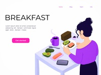 Healthy breakfast web page healthy eating breakfast isometric art isometric isometry character design concept flat vector illustration