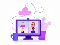 Virtual meetings business technology web character design concept flat vector illustration