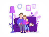 Stay home family stay safe stay home stayhome people character design concept flat vector illustration