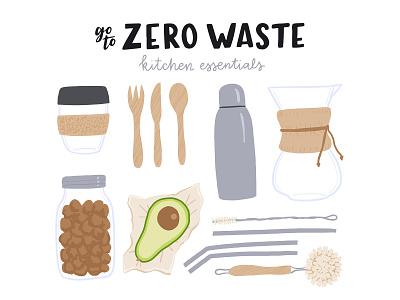 Kitchen essentials sustainable natural organic reusable swap eco swap ecology zero waste zerowaste flat vector illustration