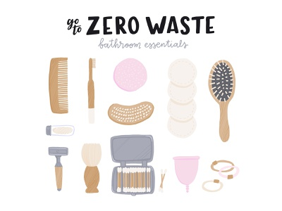 Bathroom essentials swap sustainable reusable organic natural eco swap zero waste zerowaste ecology eco concept flat vector illustration
