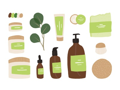 Natural cosmetics skin care skincare beauty product cosmetic organic natural cosmetics design concept flat vector illustration