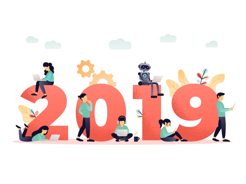 2019 coral living 2019 web technology character concept design flat vector illustration