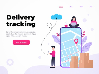 Delivery tracking service page business web technology character concept design flat vector illustration