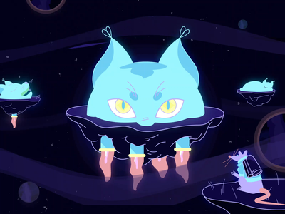 A Cat World blink kitty neon reactor rat planet world cat flash animate romania character gif 2d animation