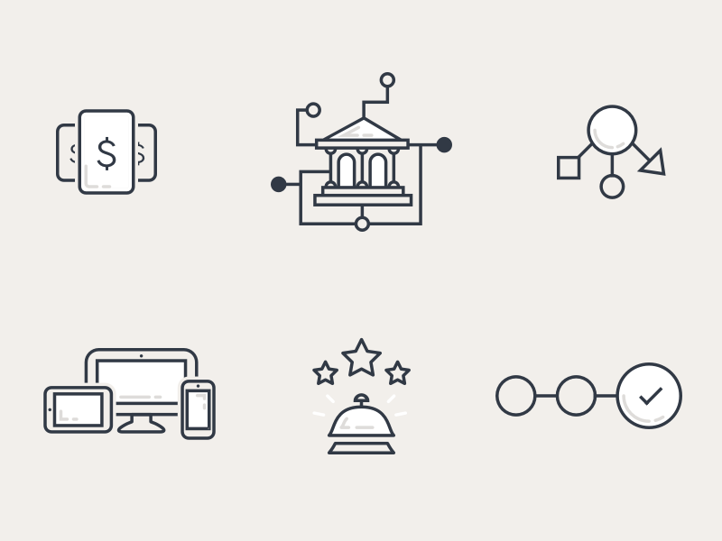 Icons for SEED stroked outline illustration icons icon reception bell devices banking pricing