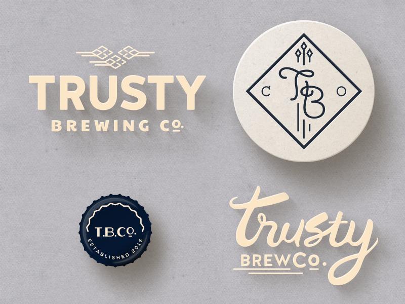 Trusty Brewing Co. Branding tombow script badge hand lettering brewery coaster bottle cap logo