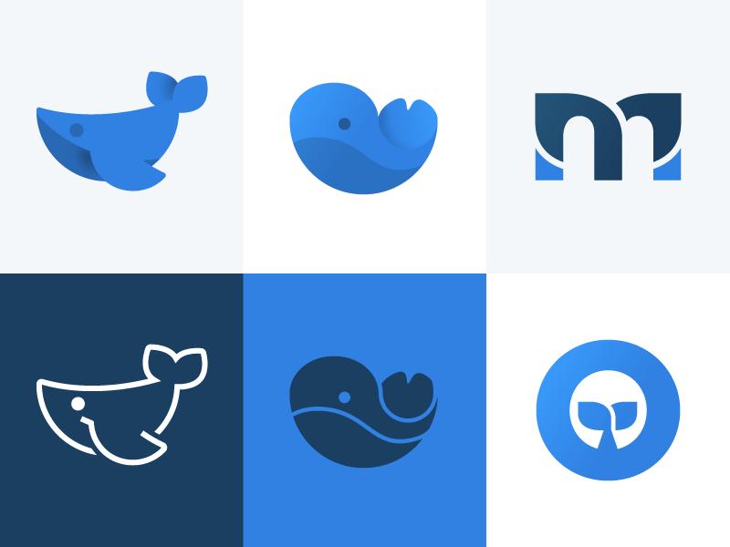 Whales circles animal branding identity whale mark logo