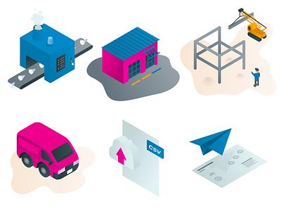 Wholesale Process Illustrations crane storefront manufacturing van industrial gradient isometric
