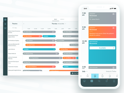 Scheduling App web app ios booking medical appointments schedule calendar