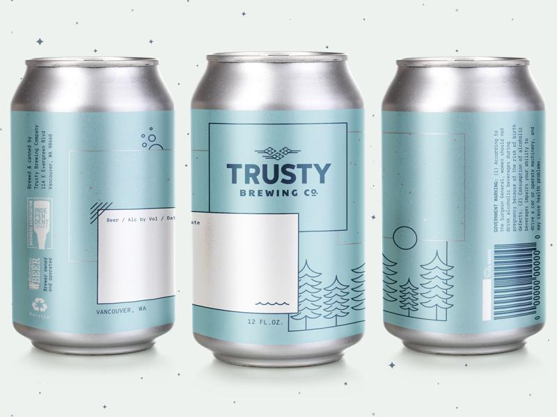 Trusty Crowler monospace vancouver packaging branding crowler foil metallic can brewery beer
