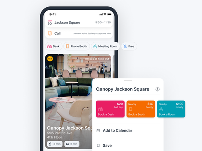 Hourly Workspace Booking ios iphone workspace booking filters tiles cards coworking