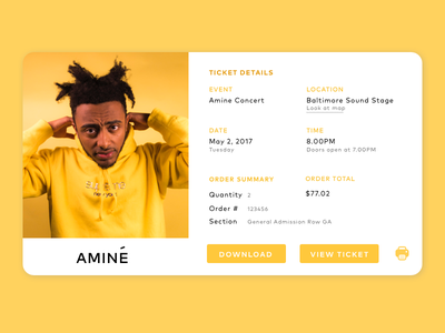 Email Receipt   Daily Ui #17 yellow event amine email receipt concert ux ui daily