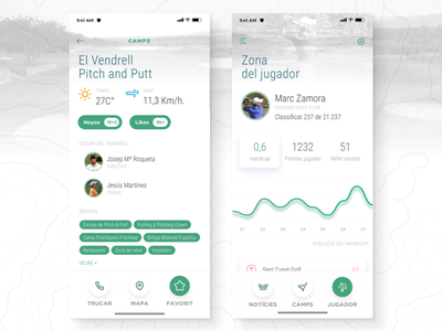 Pitch & Cat user interface ui ios sport putt pitch golf clean app