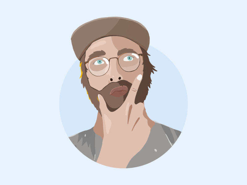 The face of a conflicted designer autodidact digital cutout designer glasses beard blue portrait illustration hand drawn procreate