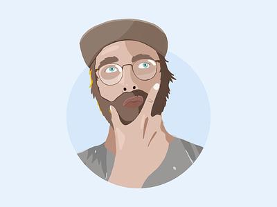 The face of a conflicted designer autodidact digital cutout designer glasses beard blue portrait illustration hand drawn procreate