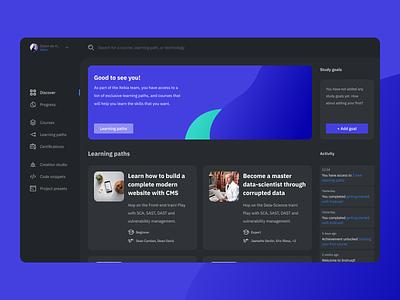 Looking for feedback! 👉 Learning platform for engineers platform website web ui sketch minimal flat design concept branding black blue webapp app figma abstract 2d