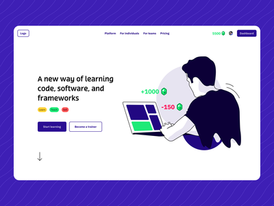 Concept screen: Instruqt homepage 🚀 ui gamification figma illustration technical landingpage concept design learning platform
