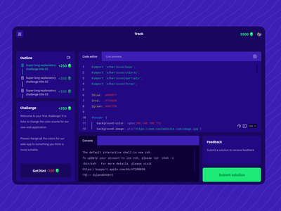 Concept screen: Instruqt learning environment figma ui interface css challenges code learning platform