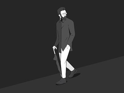 Dylan the Lord minimal clean modern simplistic illustrator black and white self-portrait digital hand drawn illustration