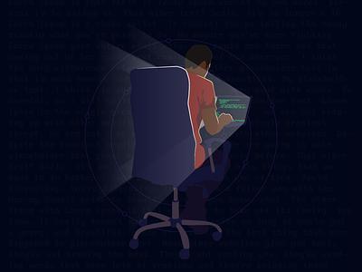 Mr. Robot light rays night code hacker hand drawn robot mr mr robot illustration tribute