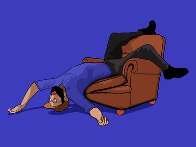 New website illustration art contemporary conceptual weird chair face human body human blue hand drawn illustration upside down dylan de heer