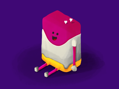 Tiny Pink Soap sketch isometric digital color hand drawn ipadpro procreate happy face purple pink soap charachter design design character illustration