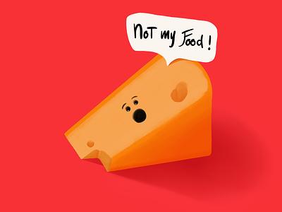 The Joey Among Cheeses ipad pro procreate digital art digital drawing shadow shading yellow red character design character comic hand drawn illustration cheese