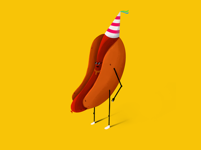 After Sex Selfie of Super Sausage! cigarette sex after sex sausage illustrator speedpainting speedpaint tutorial how to digital painting shading yellow party hat hotdog procreate hand drawn color digital illustration