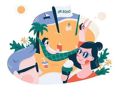 January - 2019 Calendar play ice cream beach summer calendar 2019 year glasses design vector illustration