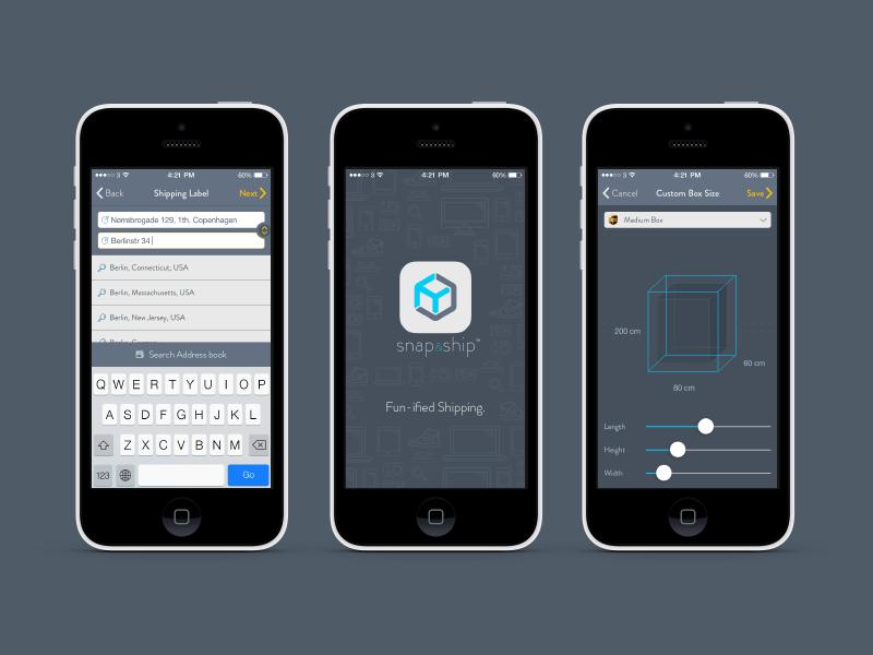 snap&ship shipping app ui ui ux apps application ios shipping tracking box