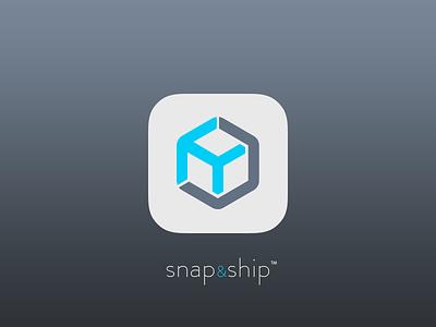 snap&ship shipping app icon ui ux apps application ios shipping tracking box icon branding logo