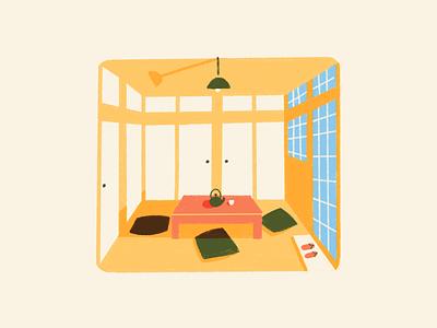Japanese minimalist home procreate illustration minimalism japanese japan