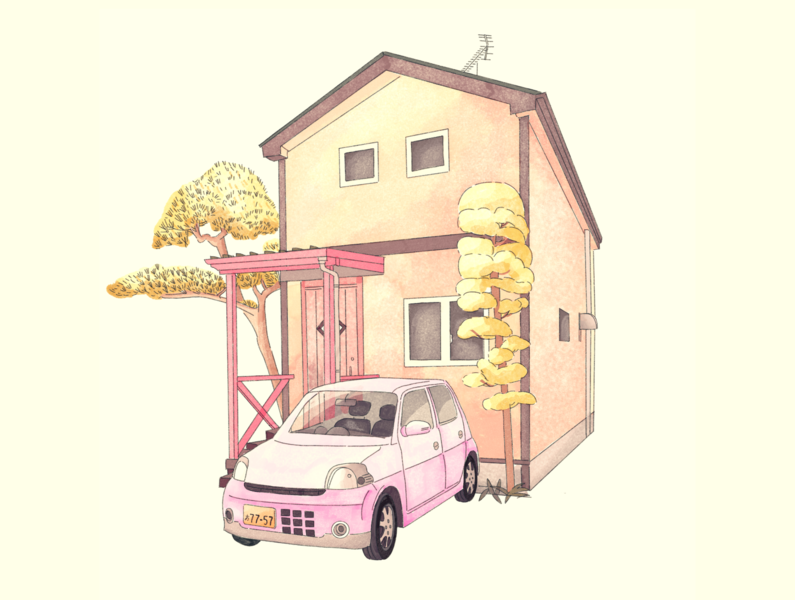 Japanese house watercolor pastels color home car japanese japanese art procreate watercolor illustration house japan
