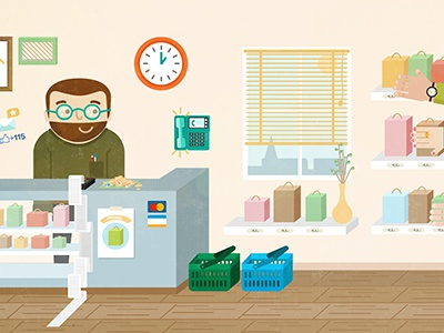 Illustration for promotional video illustration texture social shop