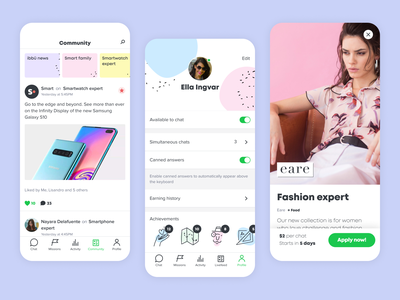 ibbü Product interface design interface pastel color ibbü feed community chat user ux ui app product design product