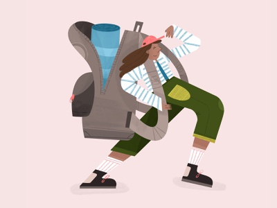 Adventurer backpack backpack woman adventure color procreate illustration