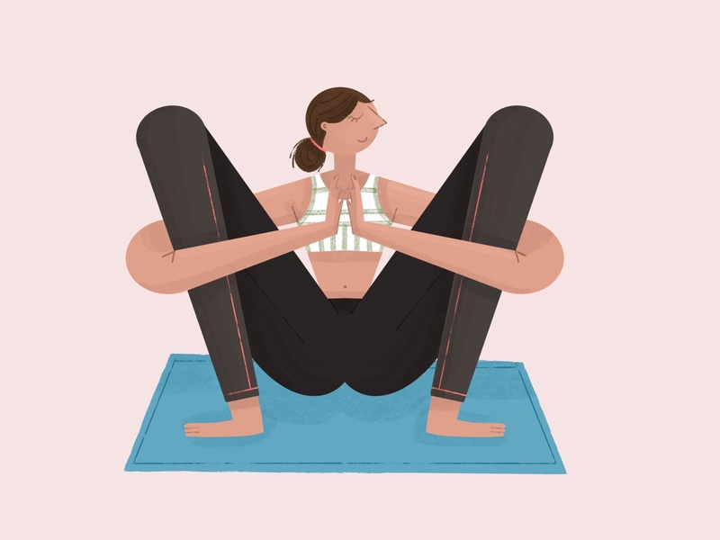 Yogi posture Malasana woman color zen posture yoga character procreate illustration
