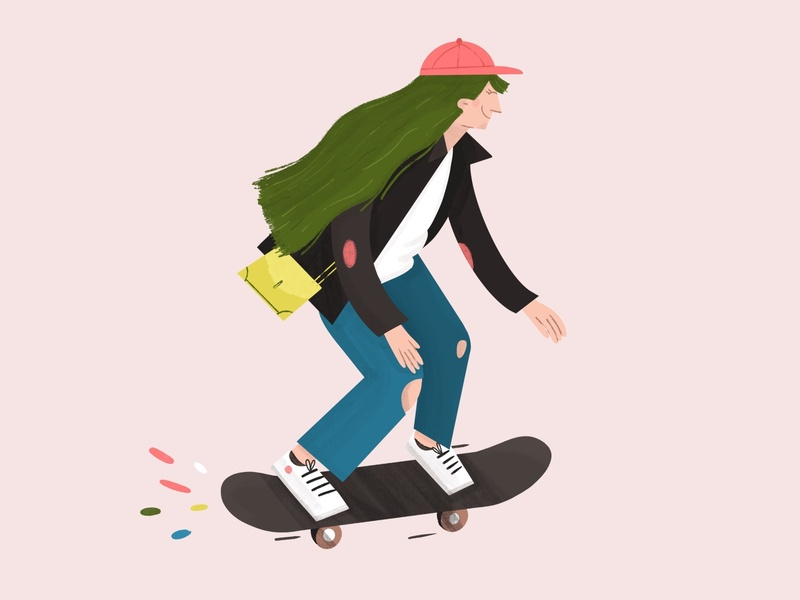 Trendy woman skateboarding woman illustration woman character procreate illustration trendy skateboard skater girl boss girl