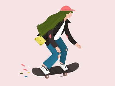 Trendy woman skateboarding woman illustration woman character procreate illustration trendy skateboard skater girl boss girl
