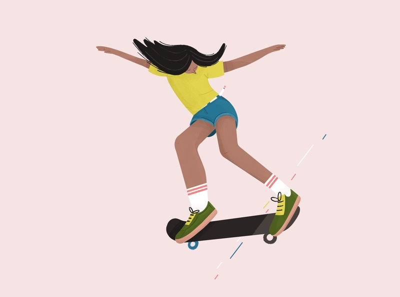 Trendy woman skateboarding girl boss trendy woman illustration woman skater skateboard procreate illustration character design girl character