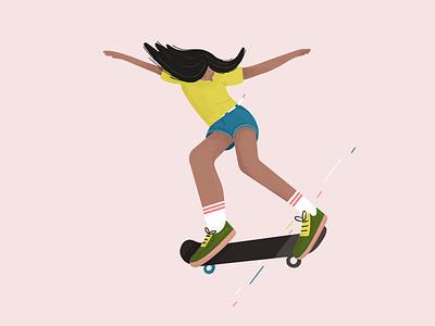 Trendy woman skateboarding girl boss trendy woman illustration woman skater skateboard procreate illustration character design girl character