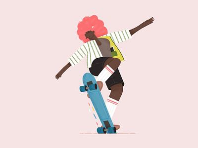 Trendy woman skateboarding skateboard skate woman illustration strong women colorful girl character woman color procreate illustration