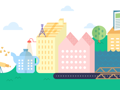 Cute Graphic Design Town town banner website building