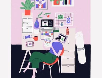 Colorful designer desk designer work laptop workspace desk home character woman color procreate illustration