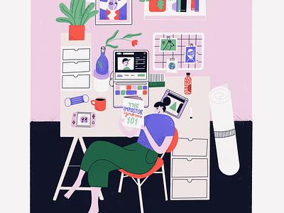 Colorful designer desk designer work laptop workspace desk home character woman color procreate illustration