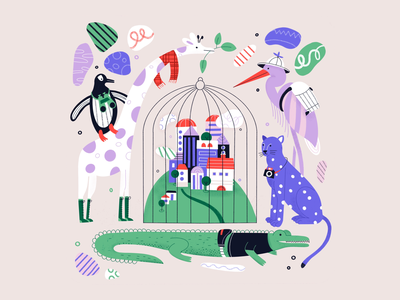 Zoo in an alternate reality cage penguin panther crocodile zootopia girafe drawing character color procreate illustration vegan animal rights animals wildlife zoom