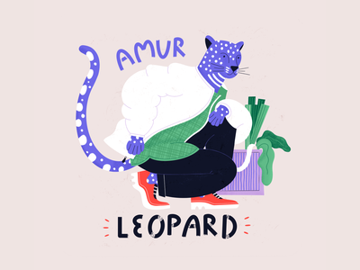 Amur Leopard - Dandy Endangered Species trendy hipster animal rights color procreate illustration wwf species endangered character animal wildlife leopard